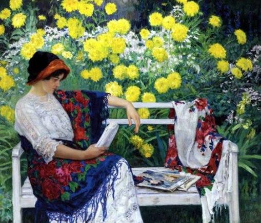 Nikolai Petrovich Bogdanov-Belsky (Russia 1868-Alemanha 1945) mulher lendo no jardim, 1915