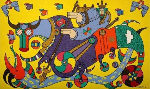 Obra , Guerreiro Jorge , ast 120x200cm -sp  Coleção Metropolis Tv cultura -spmarcos de oliveira