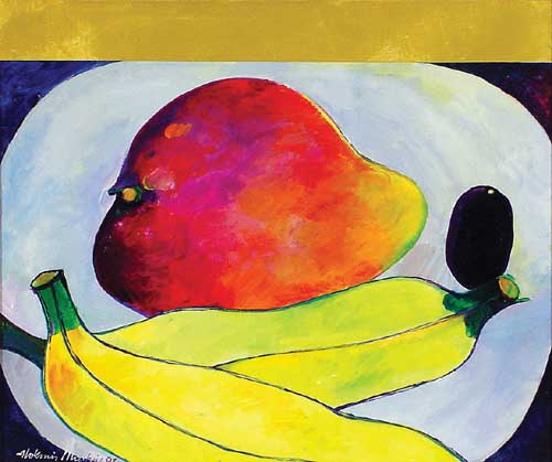 Aldemir Martins, Mangas e Bananas,ast, 1991, 46x55cm
