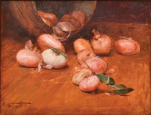 ARTHUR TIMÓTEO DA COSTA (1882 - 1923). Tachos e Cebolas,ost. 27 X 36. Assinado, datado (1908) e localizado (Paris)