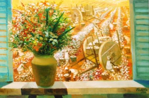 BIANCO, Enrico (1918) Vista da janela para colheita de algodão,Óleo sobre madeira industrializada - 40 x 60. Assinado e datado 1999 cid e verso