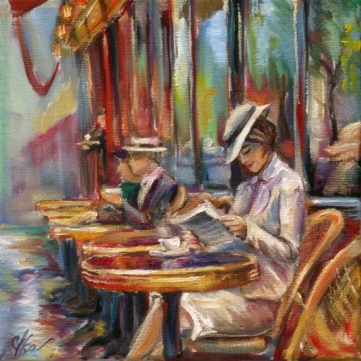 Olga Lysenko, reading-in-outdoor-cafe, ost, 20x20cm