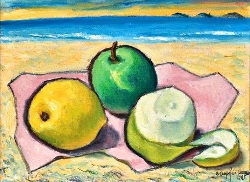 QUIRINO CAMPOFIORITO (1902-1993)Laranjas na beira da praia,ost colado no eucatex, 25 X 33. Assinado e datado (1985)