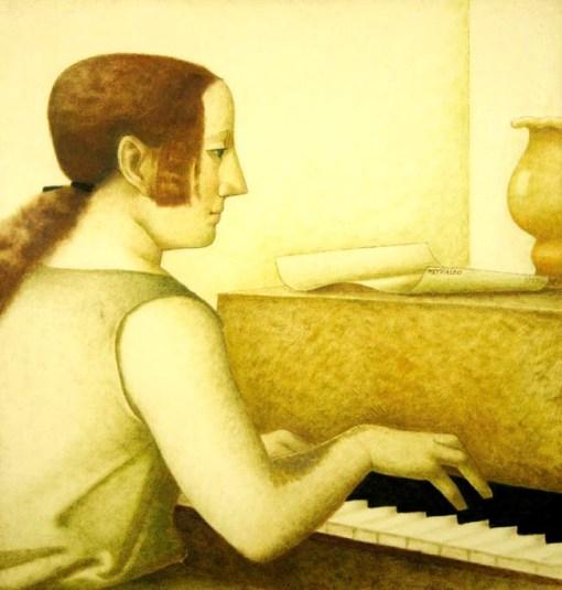 Reynaldo Fonseca, Senhora ao piano, 1985, óleo sobre papel, 70x 70 cm