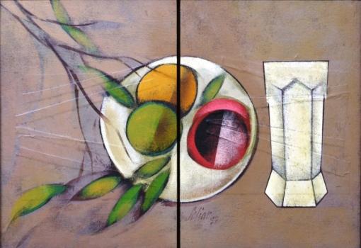 SCLIAR, Carlos (1920 - 2001) Díptico formando uma composição Frutas no prato, vinil e colagem encerados sobre tela - 37 x 26 ( cada) e 37 x 52.