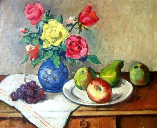 Yoshiya Takaoka (1909-1978)Vaso de floresÓleo s tela colada em placa48 x 60 cm