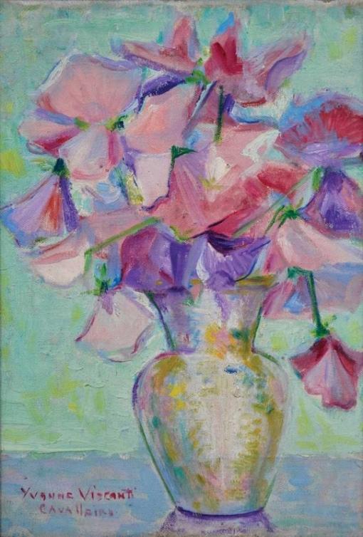YVONNE VISCONTI CAVALLEIRO (1901-1965),Jarro com Flores, ost, 36 x 25