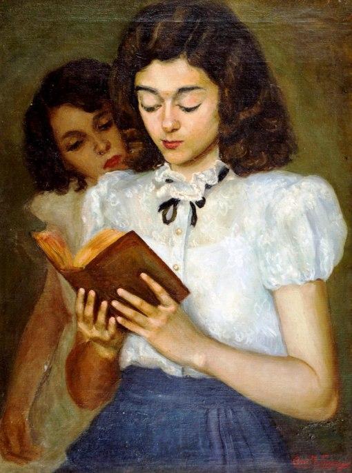 ANITA FRAGA - (Brasil, ativa no século XX, após 1930)Leitura - óleo sobre tela - 65 x 50 cm -