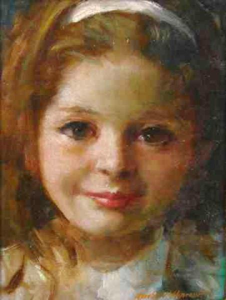 Aurélio D´Alincourt - Menina de fita no cabelo - Óleo sobre placa - 22 x 17 cm