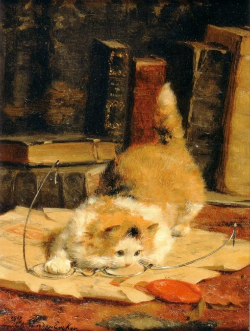Charles van den Eycken Jr  (1859-1923) - Chat aux lunettes, 1918
