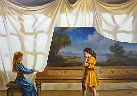 Cláudio Dantas ( Brasil,  contemporâneo) Sonata em sol, 2010, ost, 70 x 100