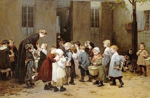 CRIANÇAS Henri-Jules-Jean Geoffroy (conhecido como Geo) (França, 1853-1924)  de volta à escola
