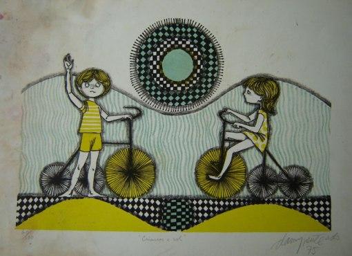 Darcy Penteado (1926-1987)Crianças e solGravura, 60-100,35 x 45 cm