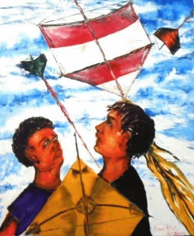 David Ricci, Dois meninos olhand pipas, 2005, ost, 60 x 40 cm