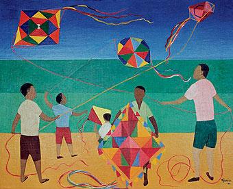 DJANIRA da Motta e Silva, Meninos com Pipa, 1966,ost,65 x 81 cm