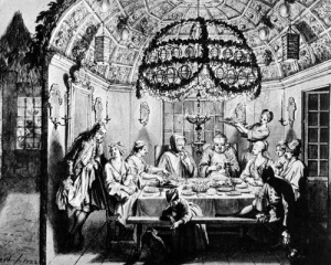 Dutch Portuguese Sephardim in their sukkah. By French engraver Bernard Picart (1723)