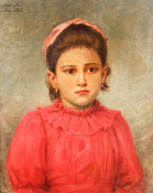 Eduardo de Sá (866-1940) Menina do vestido vermelho, ost, 46x 38