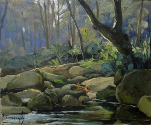 EDY GOMES CAROLLO (1924-2000)Interior de floresta com riacho,osm, 22 x 26