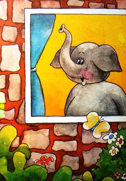 elefante na janela
