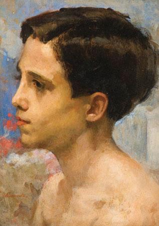 ELISEU VISCONTI (1866 - 1944)Retrato de Julinho, c1927,osm, 35 x 24 cm