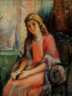 GEORGINA DE ALBUQUERQUE (1885-1962) A Leitura ost, Ass. cid 42 x 32 cm.