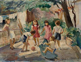 Georgina de Albuquerque,Brincadeiras de Criança, osm,c. 1950,27 x 35 cm