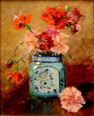 Giuseppe Perissinoto(1881-1965)Vaso de flores,sd,ost,30 x 24 cm