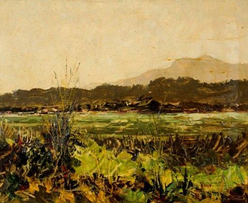 HEITOR DE PINHO - (1897 - 1968)Paisagem - óleo sobre eucatex - 34 x 41 cm
