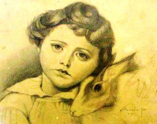 José Ferraz de Almeida Júnior, Menina, 1890, desenho a carvão