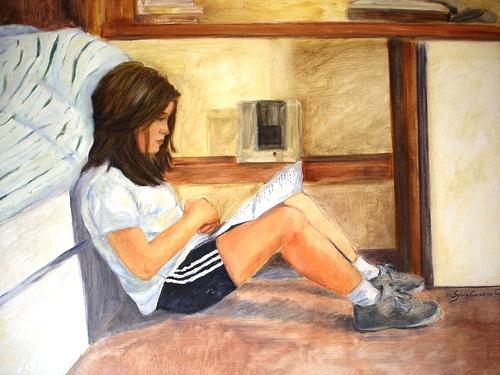 Maria Sylvia cordeiro, menina lendo, ost 80 x 100