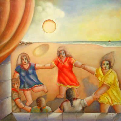 Paulo do Prado, Brincadeira de roda, ast,70 x 70 cm