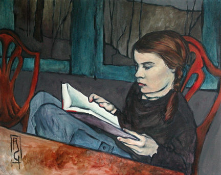 Rachel Gans (EUA, , Zed with book, 40 x 50