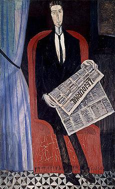 André Derain_- retrato de Homem com jornal _Portrait_of_a_Man_with_a_Newspaper