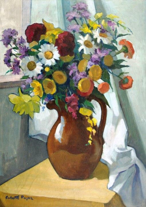 Colette Pujol (1913-1999) - Vaso de flores - Óleo sobre tela - 80 x 60 cm - carimbo do Salão Nacional de Belas Artes de 1959