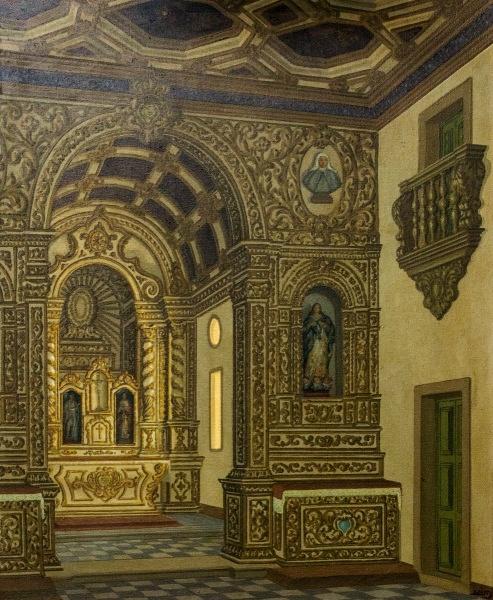 José LIMA, Interior de Igreja, OST, Capela da Ordem III de S. Francisco, Olinda, PE, 1972, 60x73cm,