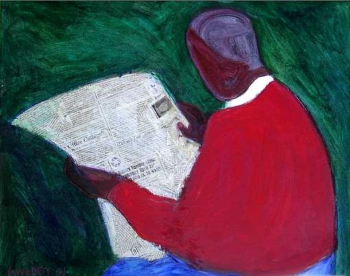 Marc Awodey,(EUA, Michigam 1960) newspaper reader
