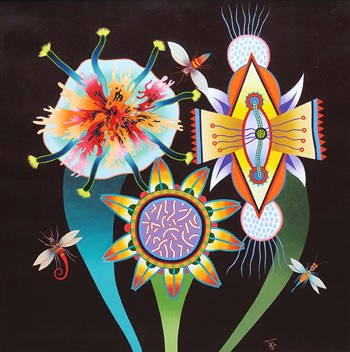 Roberto Magalhães (1940) Flores e insetos, 1999, ost, 100x100