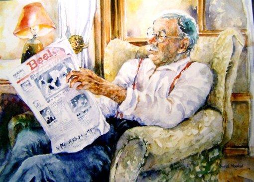 Suset Maakal, man-reading-the-newspaper, watercolorjpg