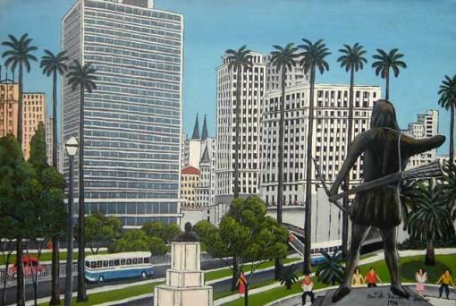 Agostinho Batista de Freitas (1927-1997)Vale do Anhangabaú,1980,ost, 50 x 70 cm