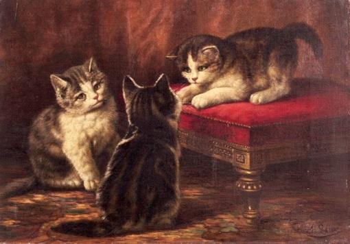 August Laux (EUA, 1847 - 1921) Gatinhos, c. 1900, ost,  25  x 35cm, signed,
