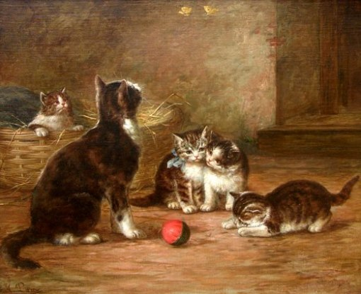 August Laux(eua, 1847-1921)Kittens with Ball and Butterflies, ost,45 x 55 cm