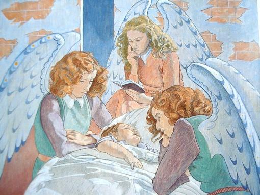 Augustin Rouart (França, 1907-1997) Criança com anjos, 1949,tempera sobre tela, 64 x 80, museu dos anos 30, paris