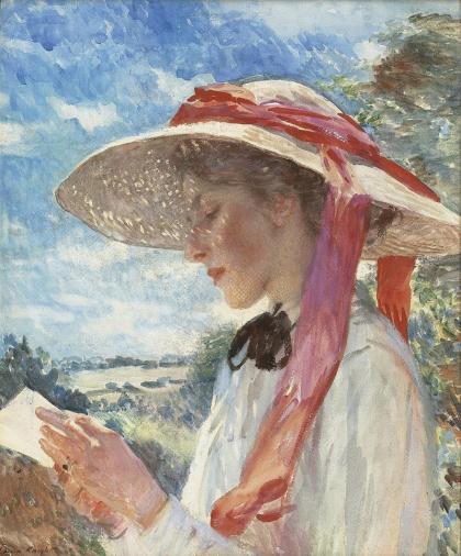Dame Laura Knight, (1877-1970)  Jovem moça  reading, retrato de Florence Carter Wood,