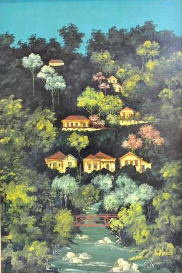 FRANCISCO OSWALD (1948 - 1985) Casas na montanha, óleo sobre chapa de madeira industrializada - 60 x 40 cm.