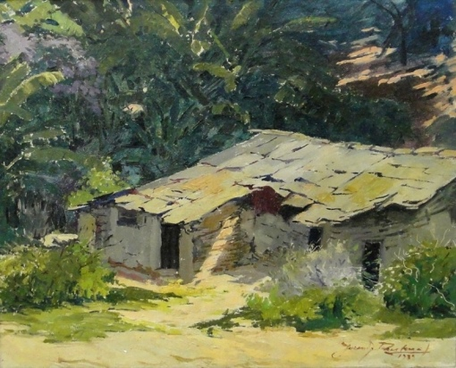JURANDIR PAES LEME (1896-1953)Fundo de quintal,1939,ost,33 X 41