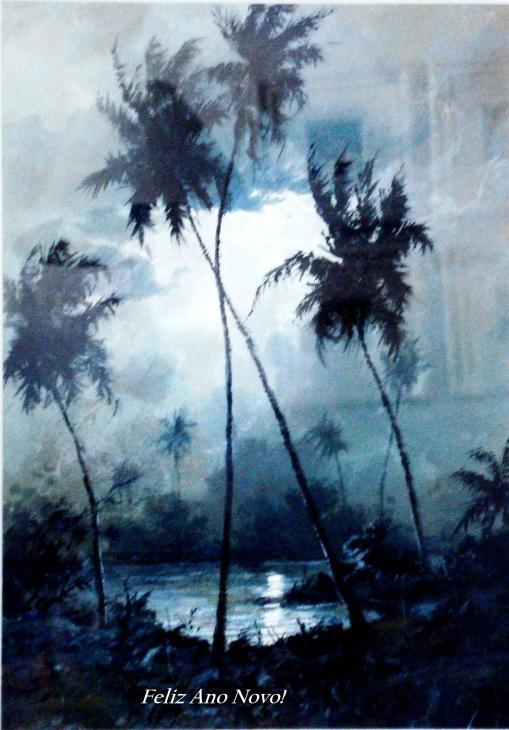 Reynaldo Manzke ( Noite na praia) aquarela com votos