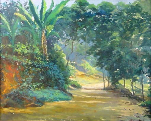 SAAVEDRA, DAVID CORREA (1900-      ) - Paisagem no Estado do Rio, óleo seucatex, 46 X 55. Assinado no c.i.d.