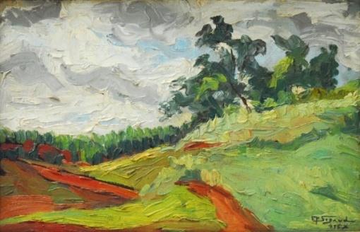SIGAUD, Eugênio de Proença (RJ 1889 1979) Paisagem do Paraná Óleo smadeira 22 x 34 cm. ass. inf. direito e verso 1957.