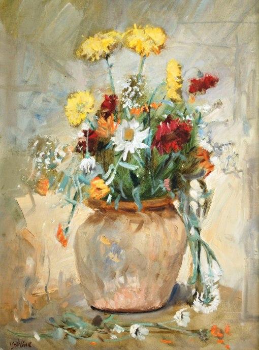 ARLINDO CASTELLANE DI CARLI - (Brasil,1910 - 1985)Flores - óleo sobre tela - 61 x 46 cm