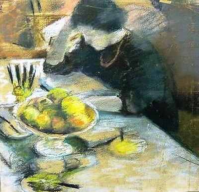 Auguste Macke, elisabeth lebdo com frutas à mesa, 1908
